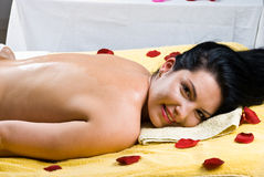 Happy smiling woman at spa salon Stock Images