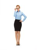 Happy and smiling woman in specs Stock Photos
