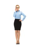 Happy and smiling woman in specs. Picture of happy and smiling woman in specs Stock Image
