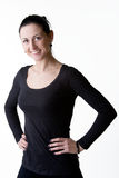 Happy Smiling Woman Standing With Arms On Hips Stock Photos