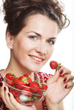 Happy smiling woman with strawberry Stock Photography