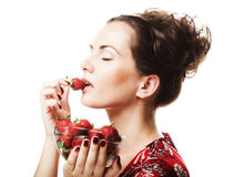 Happy smiling woman with strawberry Stock Photo