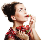 Happy smiling woman with strawberry Royalty Free Stock Images