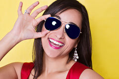 Happy smiling woman in sun glasses Royalty Free Stock Images