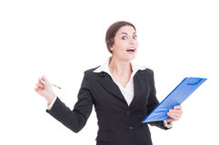 Happy smiling woman supervisor or inspector holding clipboard an Royalty Free Stock Photo
