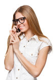 Happy smiling woman talking on the mobile phone on white Stock Photos