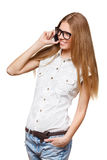 Happy smiling woman talking on the mobile phone on white Royalty Free Stock Image
