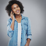Happy smiling woman talking on phone royalty free stock photos