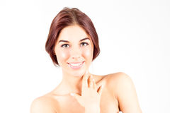 Happy smiling woman touching neck. Skin care concept. Beauty woman. Royalty Free Stock Photography
