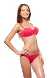 Happy smiling woman wearing bikini Royalty Free Stock Photos