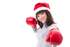 Happy, smiling woman wearing christmas santa hat, boxing day Stock Image