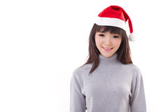 happy, smiling woman wearing X'mas santa hat Stock Image