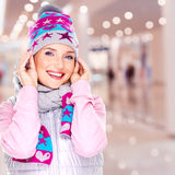 Happy smiling woman in winter clothes Stock Photography
