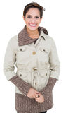 Happy smiling woman in winter fashion looking at camera Stock Photos