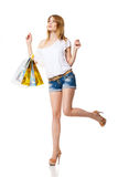 Happy Smiling Woman With Shopping Bags Isolated Stock Image