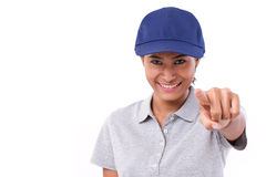 Happy, smiling woman worker or service staff pointing at you Stock Photo