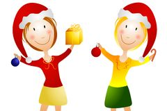 Happy Smiling Women at Christmas Stock Images