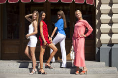happy smiling women shopping Royalty Free Stock Images