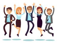 Happy and smiling workers, business people jumping flat vector characters. Happy worker character, team office people illustration royalty free illustration