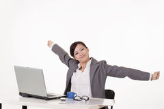 Happy smiling working business woman Royalty Free Stock Images