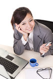 Happy smiling working business woman Stock Photo