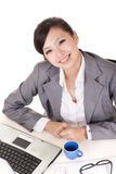 Happy smiling working business woman Royalty Free Stock Image