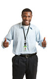 Happy Smiling Working Carrying Employee Badge Royalty Free Stock Images