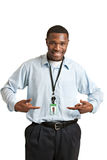 Happy Smiling Working Carrying Employee Badge Stock Images