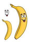 Happy smiling yellow cartoon banana fruit Stock Images