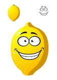 Happy smiling yellow cartoon lemon fruit Royalty Free Stock Photography
