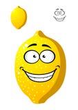 Happy smiling yellow cartoon lemon fruit Royalty Free Stock Photography