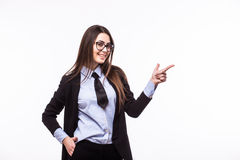 Happy smiling young beautiful business woman showing something Stock Photo