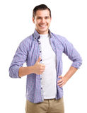 Happy smiling young business man with thumbs up gesture. Isolated over white background stock images