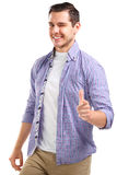 Happy smiling young business man with thumbs up gesture. Isolated over white background royalty free stock photography