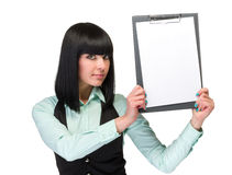 Happy smiling young business woman showing blank Stock Photo
