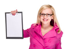 Happy smiling young business woman showing blank signboard Royalty Free Stock Images