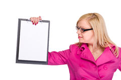 Happy smiling young business woman showing blank signboard Royalty Free Stock Photo