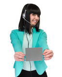 Happy smiling young business woman showing blank signboard Stock Images