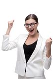 Happy smiling young business woman in victorious Royalty Free Stock Photo