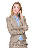 Happy smiling young businesswoman with cellphone Stock Image