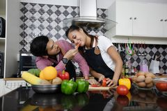 Happy and Smiling young couple cooking food in the kitchen at ho royalty free stock photo
