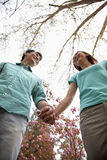 Happy smiling young couple holding hands in the park in springtime, low angle view Stock Images