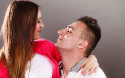 Happy smiling young couple hugging. Love. Royalty Free Stock Image