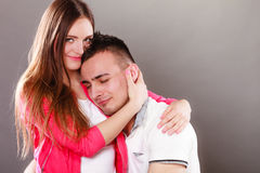 Happy smiling young couple hugging. Love. Stock Image