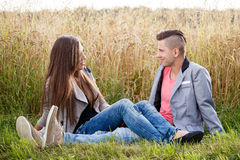 Happy smiling young couple outdoor. valentine concept Stock Photography