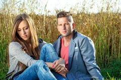 Happy smiling young couple outdoor. valentine concept Royalty Free Stock Image