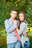 Happy smiling young couple outdoor. valentine concept Royalty Free Stock Images
