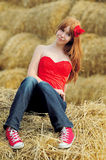 Happy smiling young girl sitting on a hay Stock Photography