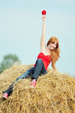 Happy smiling young girl sitting on a hay Royalty Free Stock Photos