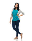 Happy smiling young indian woman in glasses Royalty Free Stock Photos